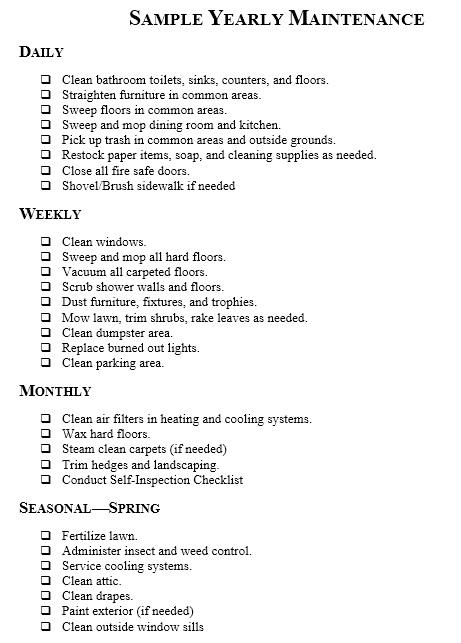 lawn maintenance schedule template