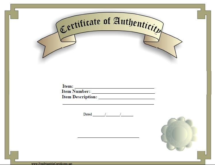 7 Free Sample Authenticity Certificate Templates Printable Samples