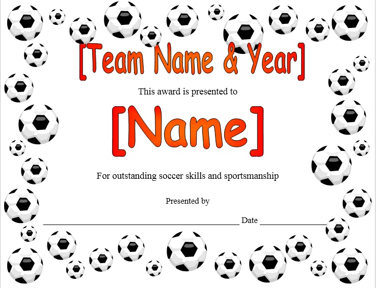 here is preview of this first sample soccer certificate template created using ms word