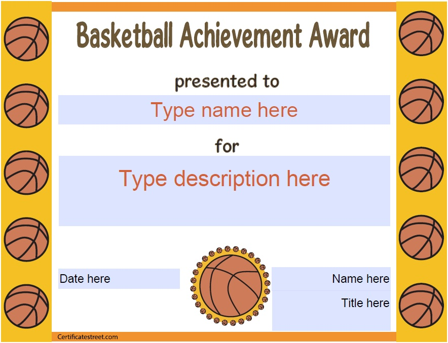 13 free sample basketball certificate templates printable samples here is preview of another sample basketball certificate template in pdf format yadclub Choice Image