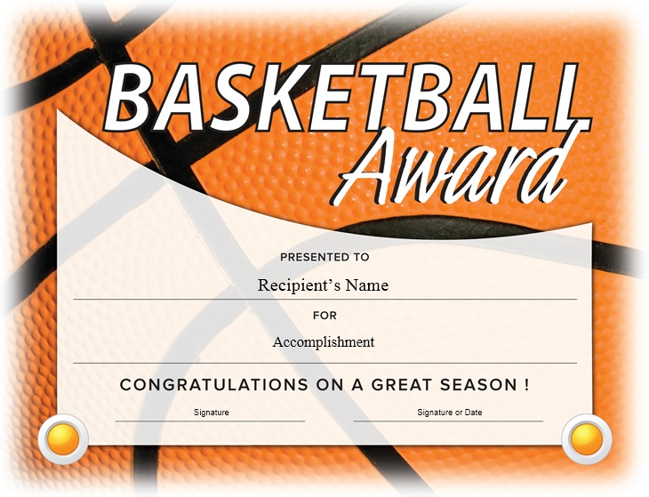 13 free sample basketball certificate templates printable samples here is preview of this first sample basketball certificate template created using ms word yadclub Images