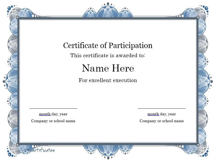 Captivating Here Is Preview Of Another Sample Participation Certificate Template  Created Using MS Word, Nice Look