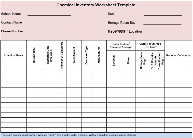Free Sample Chemical Inventory List Templates  Printable Samples