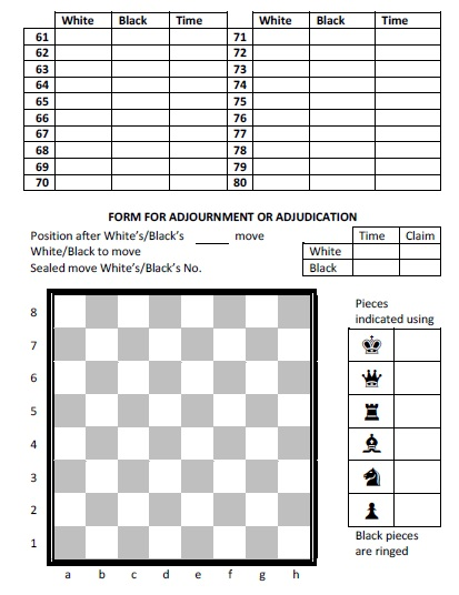 Charming Here Is Preview Of Another Sample Chess Score Sheet Template In PDF Format,