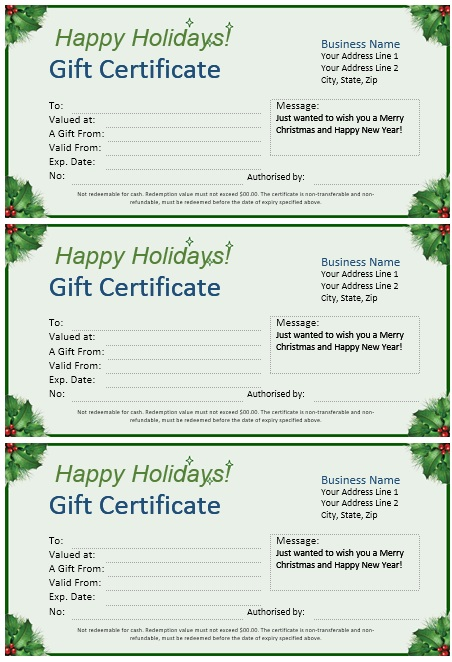 11 free sample christmas gift certificate templates printable here is preview of this first sample christmas gift certificate template created using ms word yadclub Choice Image