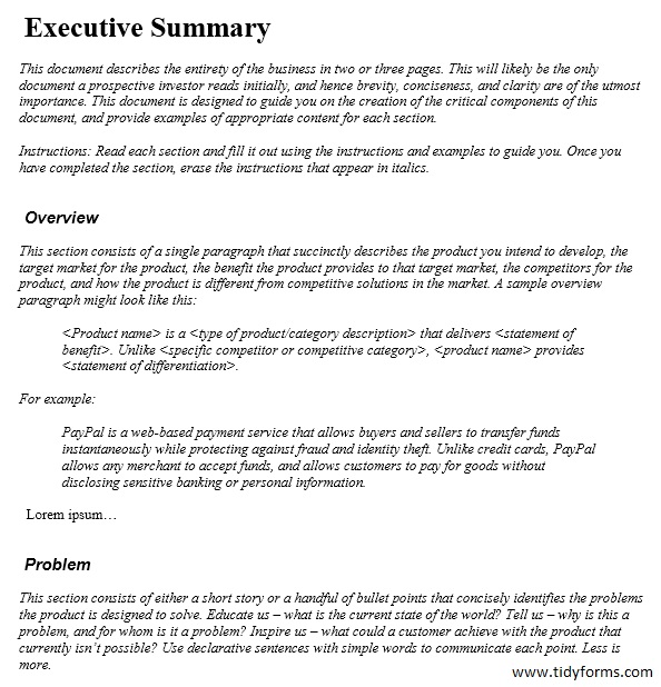 9 Free Sample Executive Summary Templates – Printable Samples