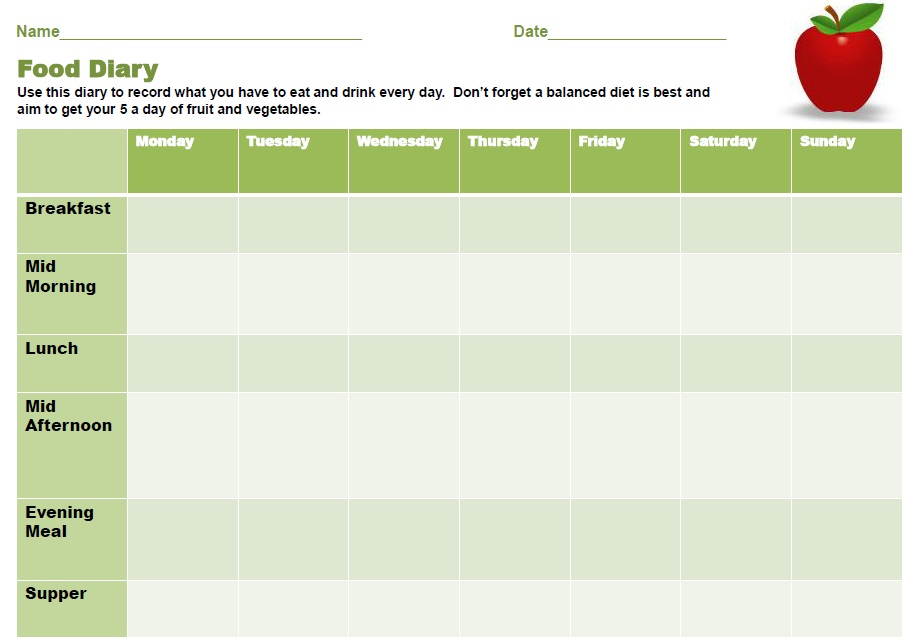 11 free sample food log templates printable samples for Food diaries templates