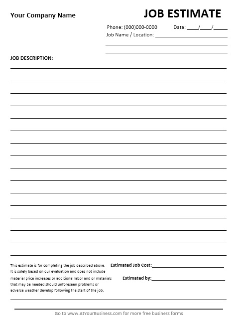 13 Free Sample Job Estimate Form – Printable Samples