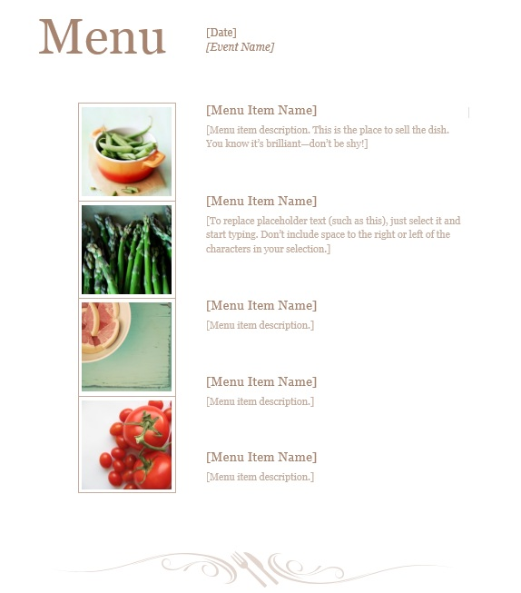 Free Menu Templates Printable Printable Wedding Menu Template