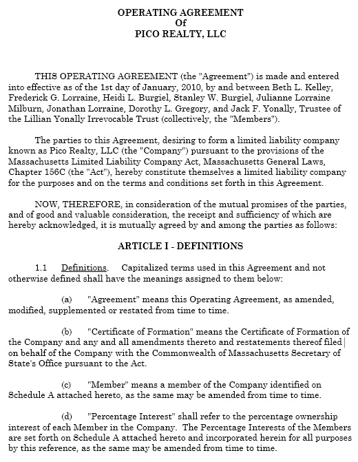 13 Free Sample Operating Agreement Templates Printable Samples
