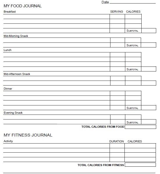 printable food fitness journal 13 printable samples
