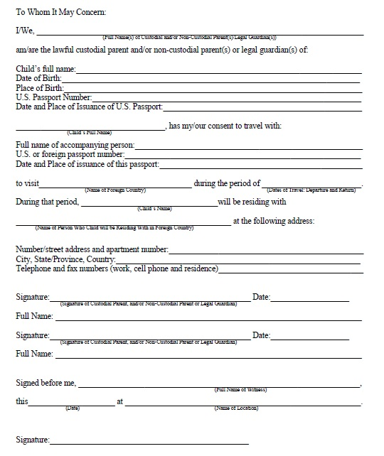 10 Free Sample Travel Consent Form Printable Samples – Child Travel Consent Form Usa