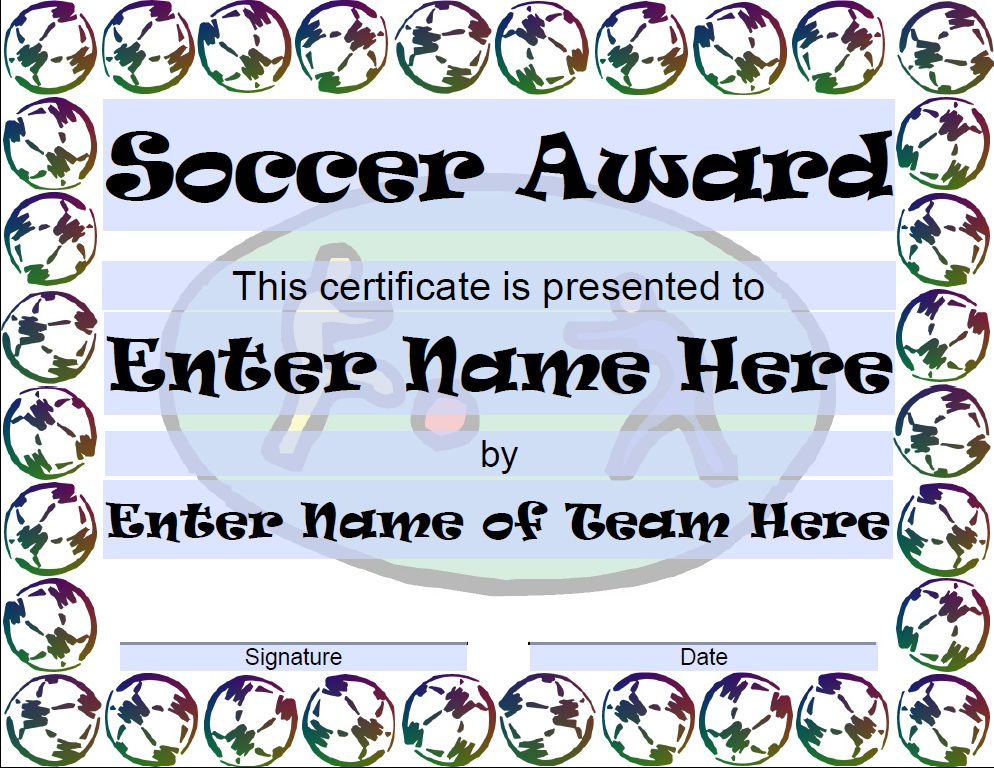 13 free sample soccer certificate templates printable samples here is preview of another sample soccer certificate template in pdf format yelopaper Images