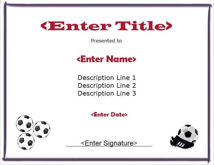 Free Printable Soccer Participation Certificate  Soccersoccer