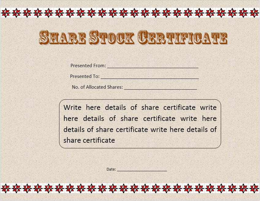 Free Sample Stock Shares Certificate Templates  Printable Samples