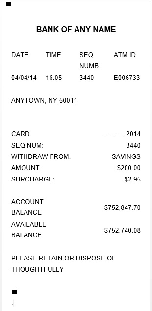 Here Is Preview Of Another Sample ATM Withdrawal Receipt Template Created  Using MS Word,
