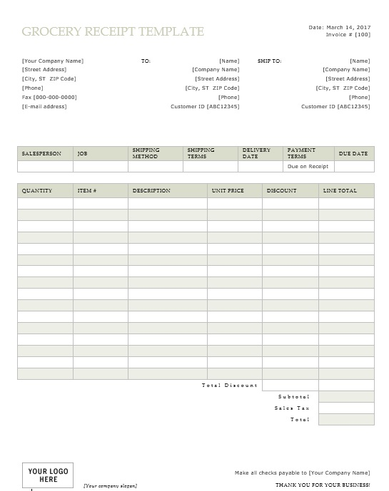 9 free sample grocery payment receipt templates
