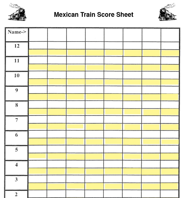 Free Sample Mexican Train Score Sheet Templates  Printable Samples