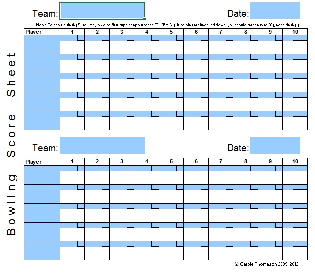 9 free sample bowling score sheet templates printable