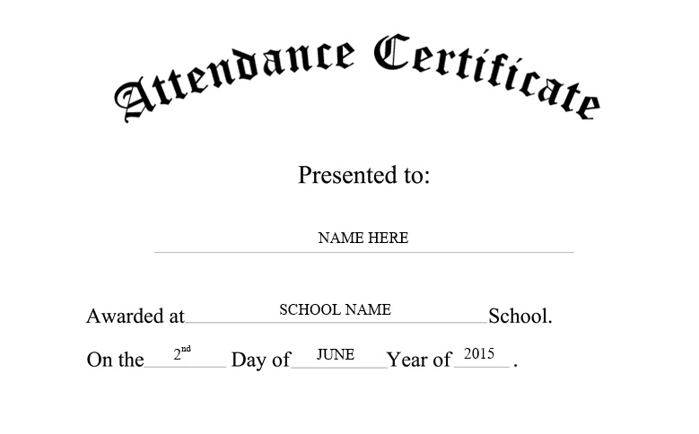 8 free sample perfect attendance certificate templates printable here is preview of another sample perfect attendance certificate template created using ms word yadclub