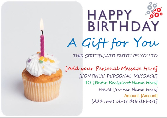 here is preview of another sample birthday voucher template created using ms word - Birthday Gift Certificate Template Word