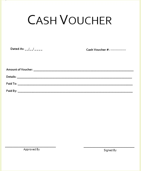 here is preview of another sample cash voucher template created using ms word