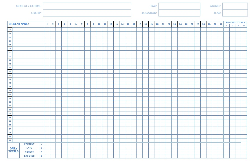 9 Free Sample Class Attendance Sheet Templates – Printable Samples