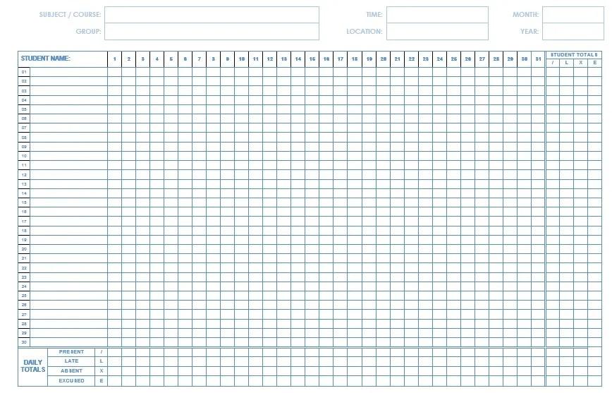 class attendance sheet templates