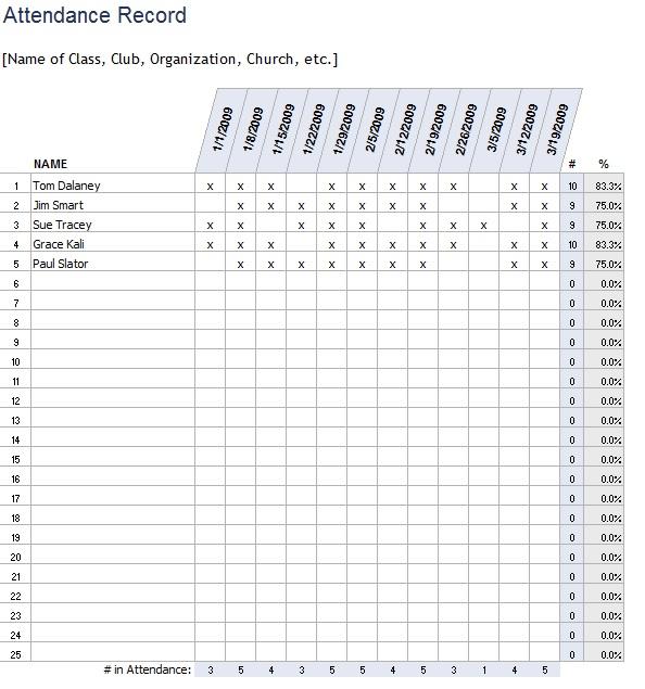 9 free sample class attendance sheet templates