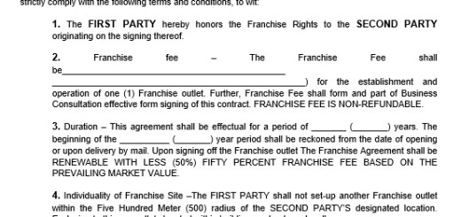 Sample Franchise Agreements Free Sample Franchising Agreement