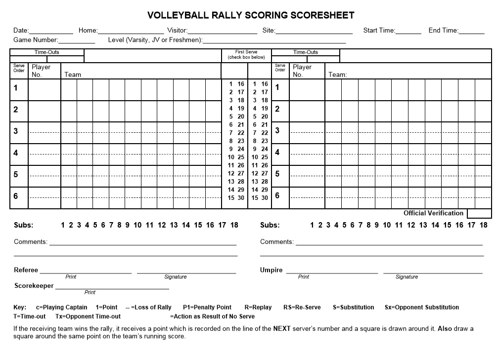 volleyball scoring sheet 8 Free Sample Volleyball Score Sheet Templates - Printable Samples