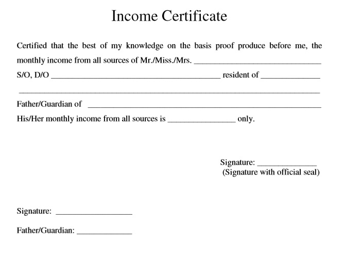 9 Free Sample Income Certificate Templates Printable Samples – Official Certificate Template