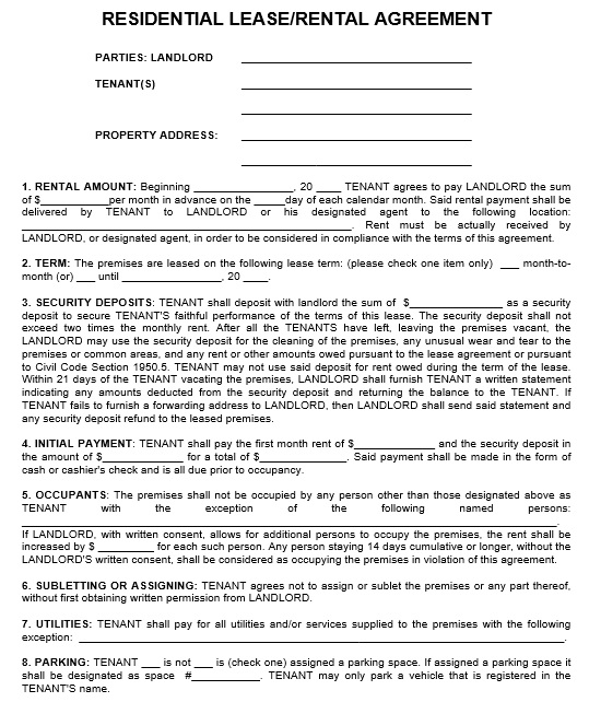 Parking Agreement Template Detailed Lease Agreement Free Lease