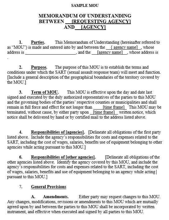 memorandum of agreement templates