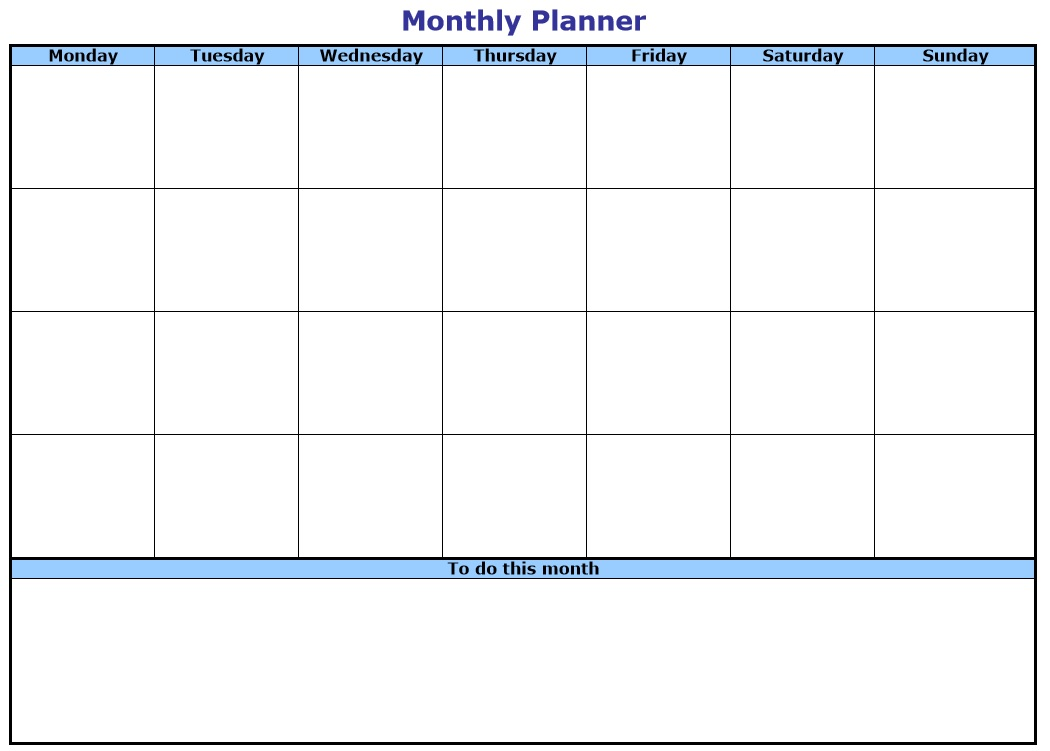 10 Free Sample Monthly To Do List Templates – Printable Samples