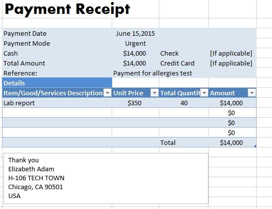 format of payment receipt