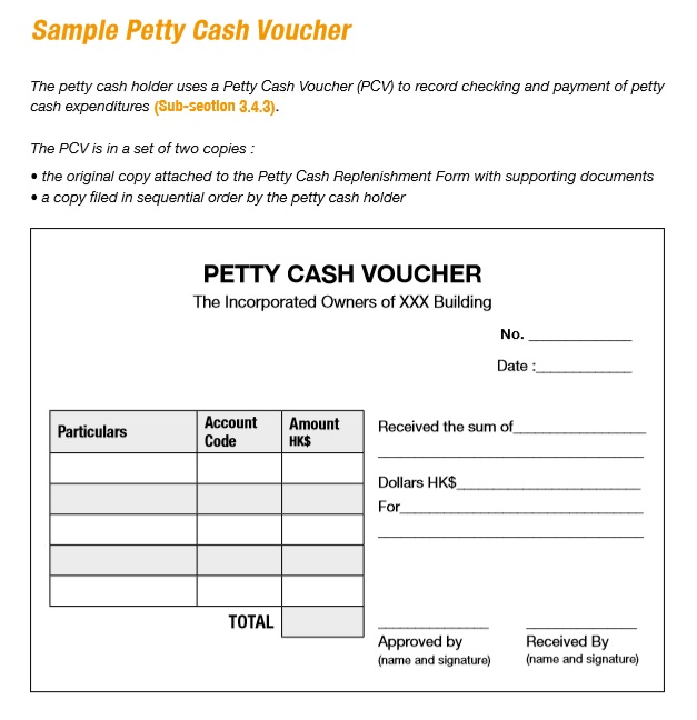 8 Free Sample Petty Cash Voucher Templates  Example Of Petty Cash Voucher