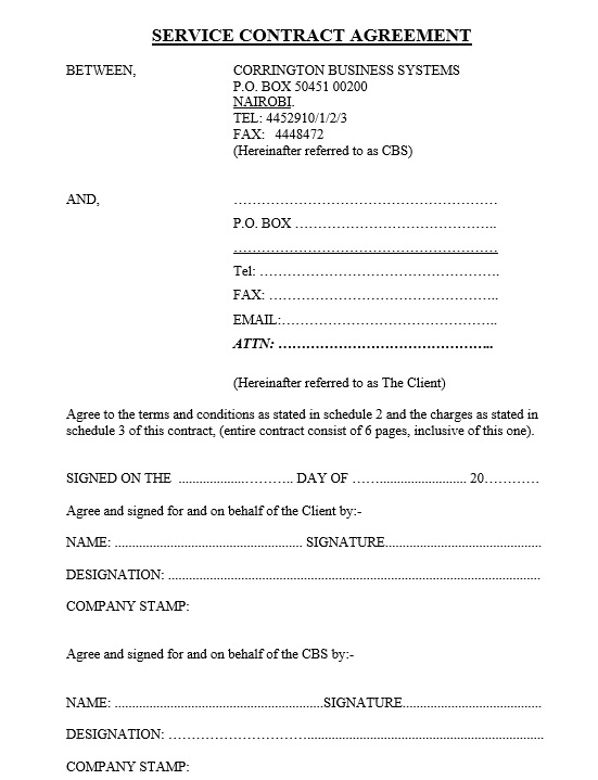 Free Sample Maintenance Agreement Templates  Printable Samples
