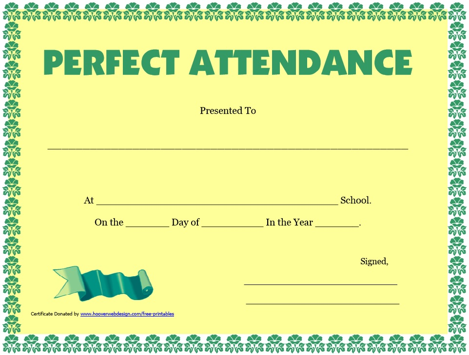 8 Free Sample Perfect Attendance Certificate Templates – Printable