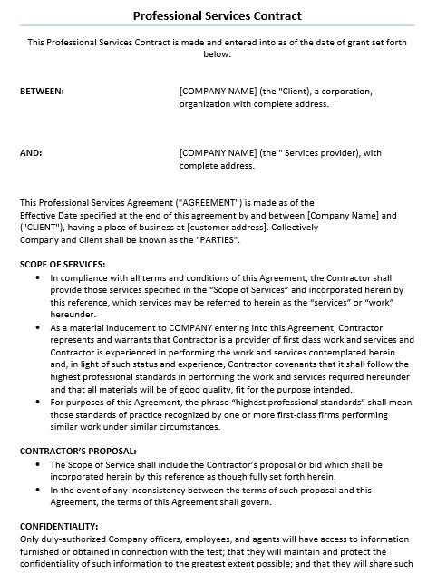 11 Free Sample Professional It Service Agreement Templates