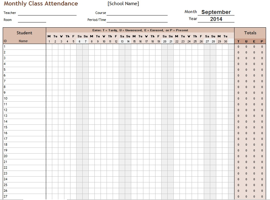 11 Free Sample School Attendance Sheet Templates ...