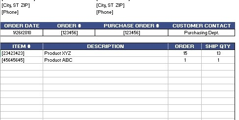 shipping packing list template excel