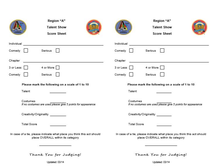 8 Free Sample Talent Show Score Sheet Templates Samples