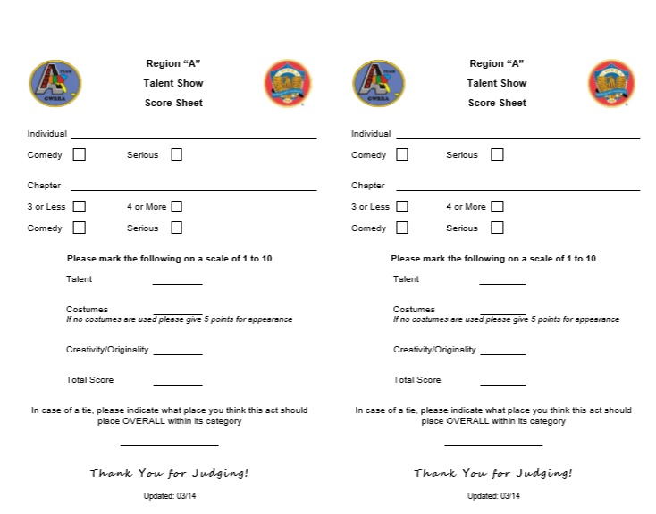 8 Free Sample Talent Show Score Sheet Templates & Samples