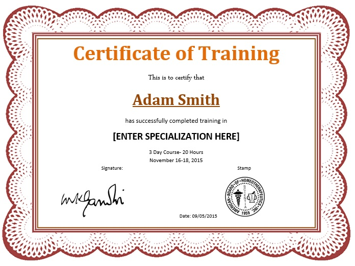 here is preview of another sample training certificate template created using ms word - Course Certificate Template Word