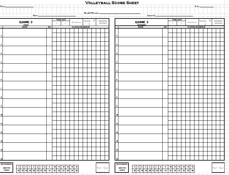 8 Free Sample Volleyball Score Sheet Templates – Printable Samples
