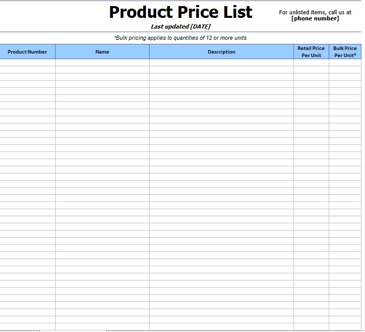 price list template