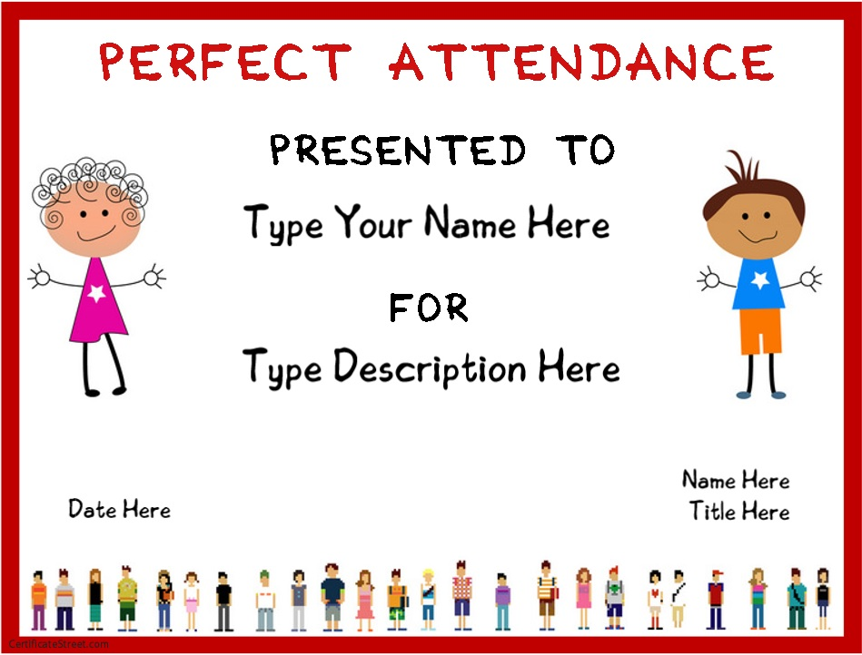 Awesome attendance certificates printable pictures resume 8 free sample perfect attendance certificate templates printable yadclub Image collections