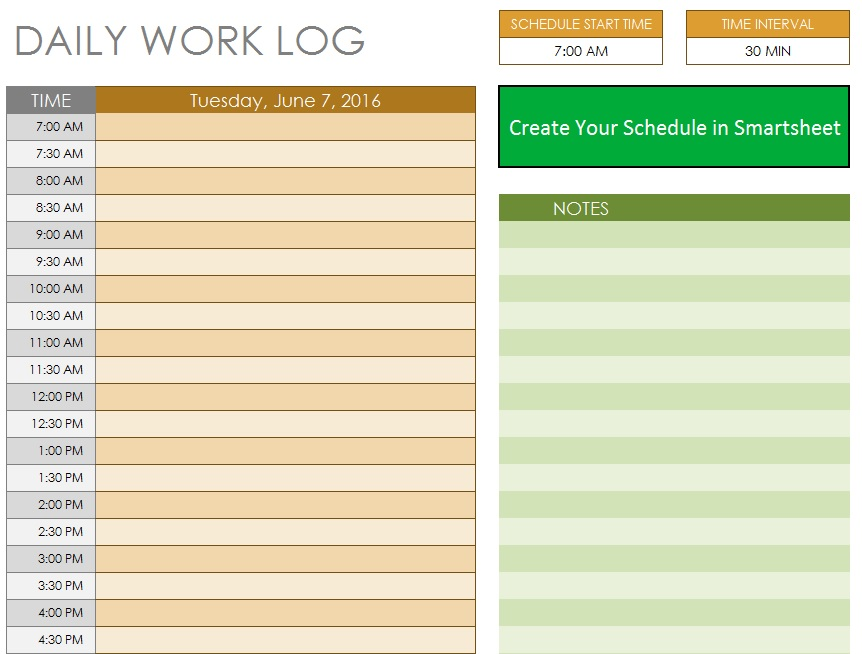 Free Sample Daily Log Templates  Printable Samples