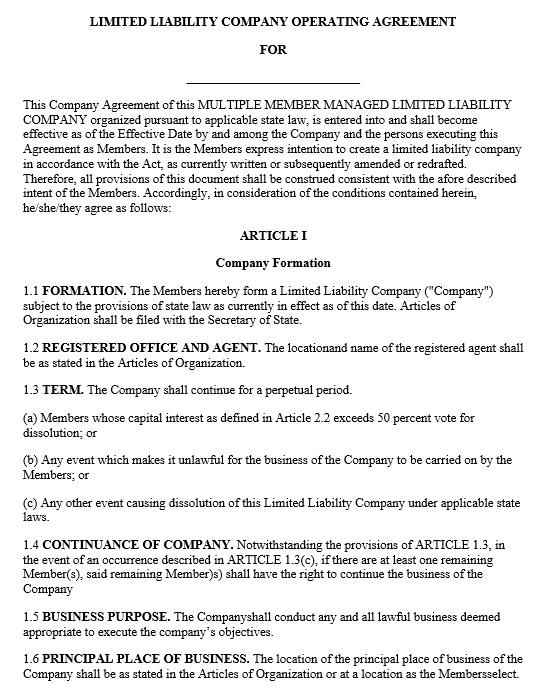 operating agreement llc sample